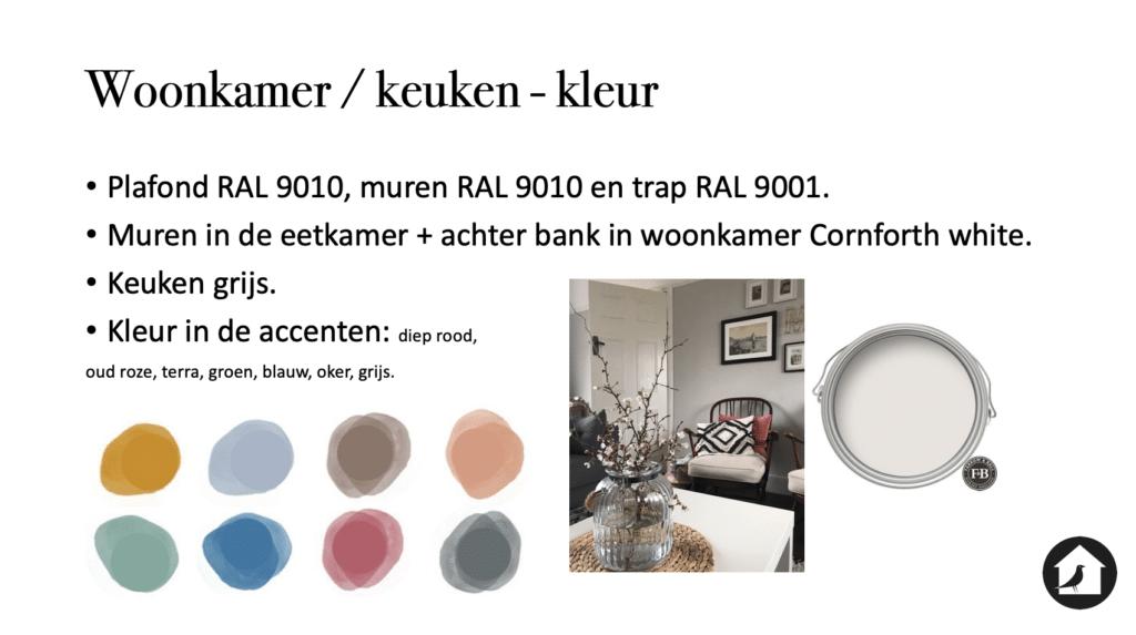 Kleurenpallet voor de woonkamer en keuken woonhuis Zwolle Le Living