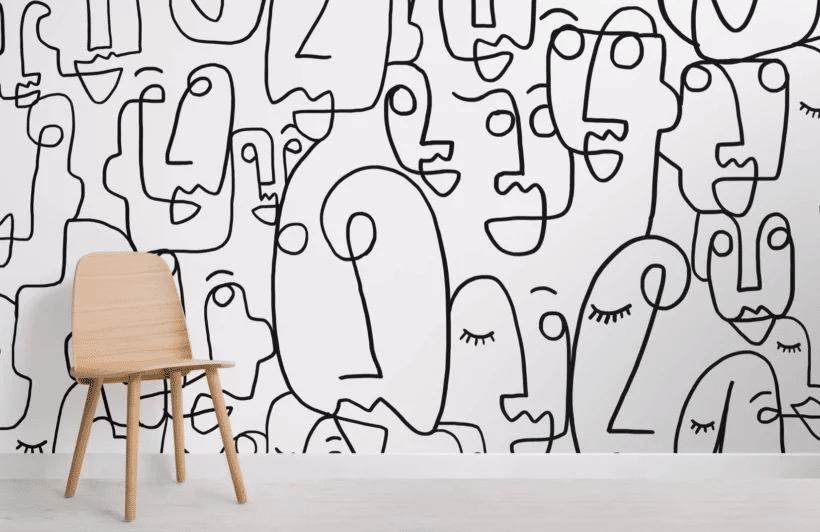 Large Face Line Drawing Wallpaper Mural _ Murals Wallpaper