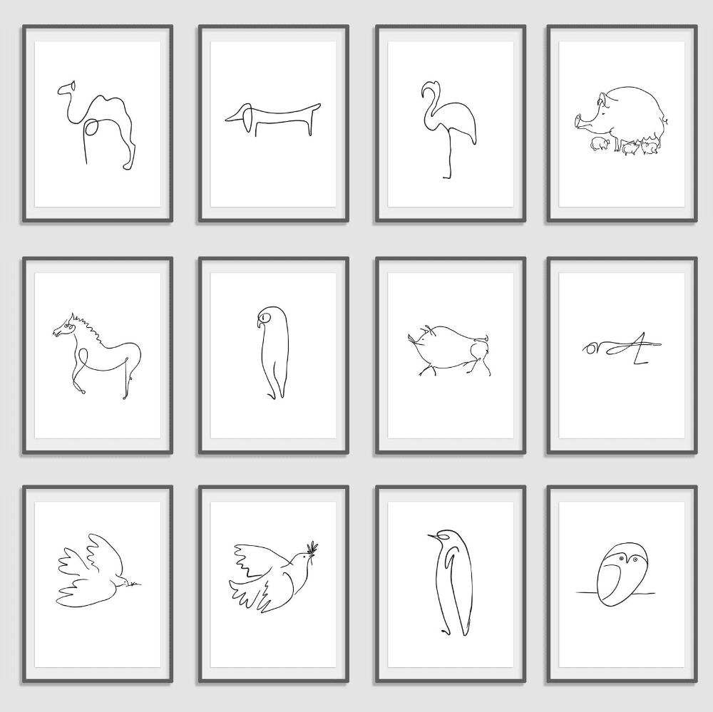 One line tekening Picasso