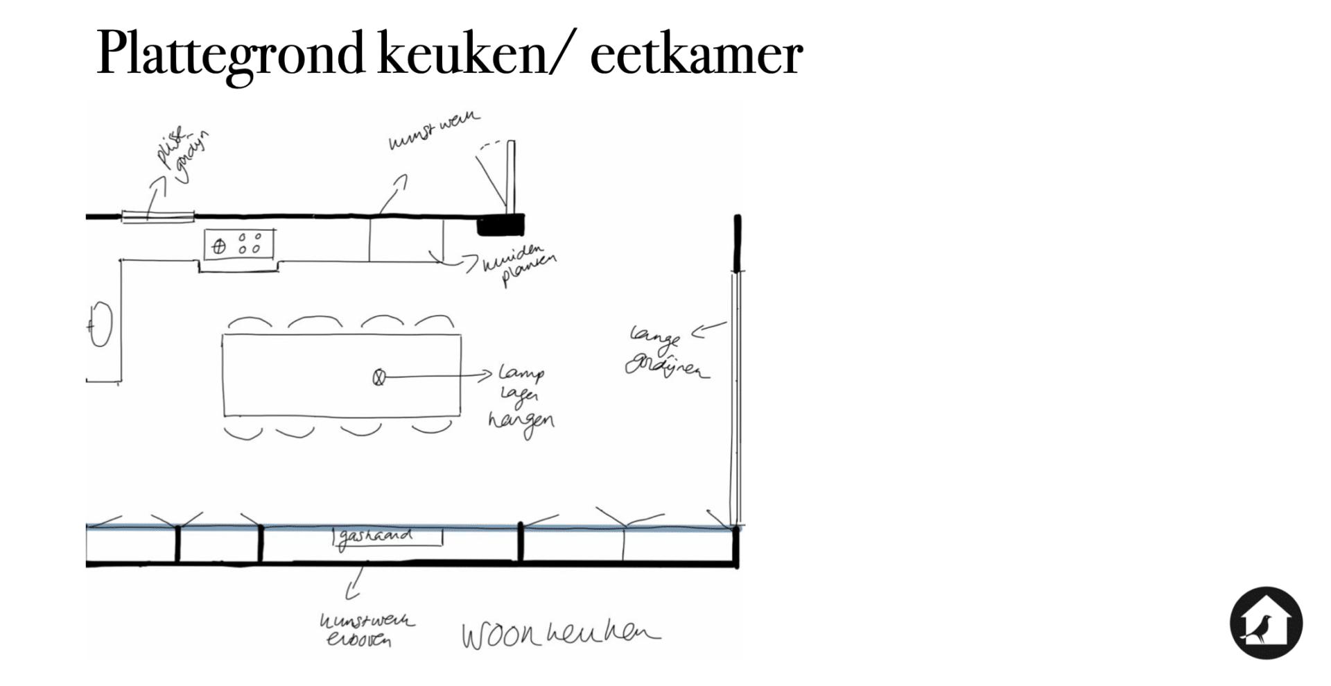 Plattegrond woonkamer/ eetkamer