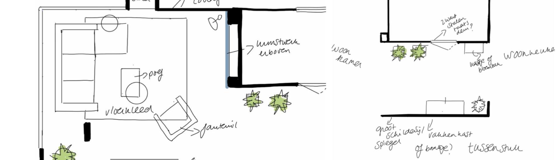 Plattegrond woonkamer huis Vught