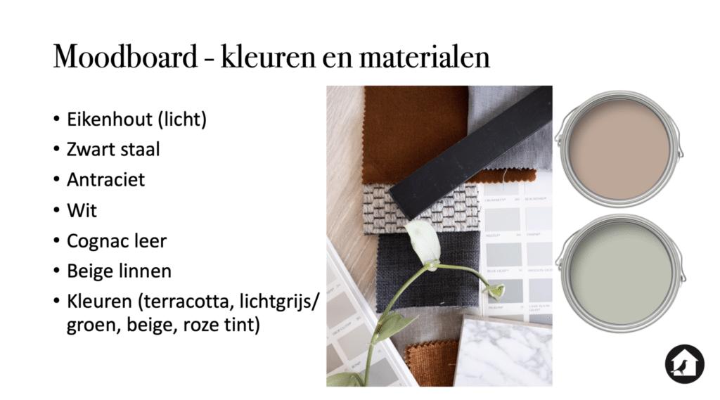 Moodboard kleuren en materialen interieuradvies Zeist