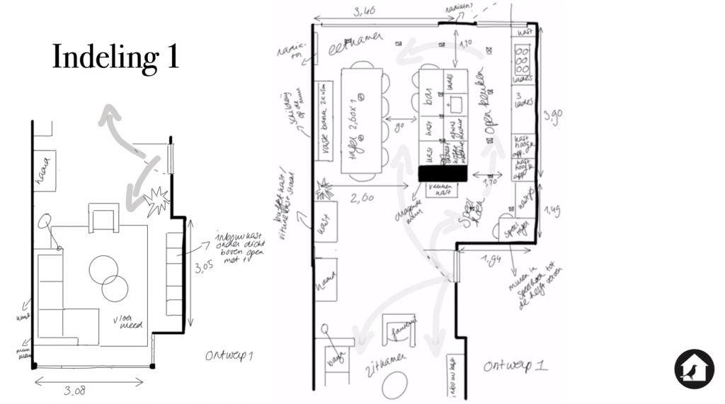 Indelingsoptie 1 verbouwing keuken jaren dertig huis Zeist