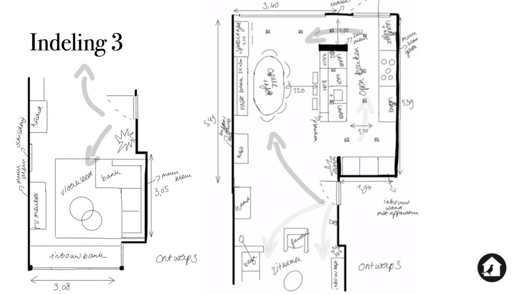 Indelingsoptie 3 verbouwing keuken jaren dertig huis Zeist